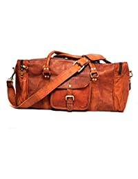 9f64b06d4aca RENOSTER Men s and Women s Vintage Handcrafted Leather Duffle Bag Leather  Gym Bag (Brown)