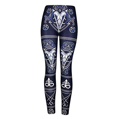 JMETERIC Sporthose Damen Harajuku Drucken Hohe Taille Blinkdicht Sporthose Leggings Elastische Bauchkontrolle Yogahose Laufhose