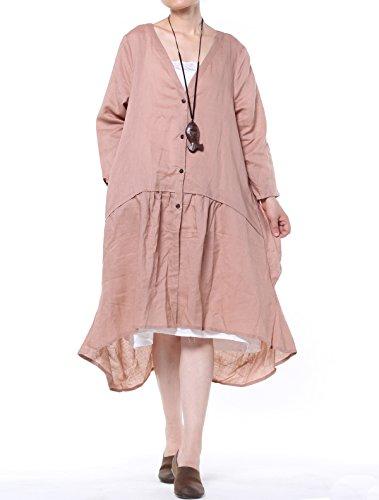 vogstyle Damen Frühling/Sommer Longline Offene Strickjacke Damen Coat Pink