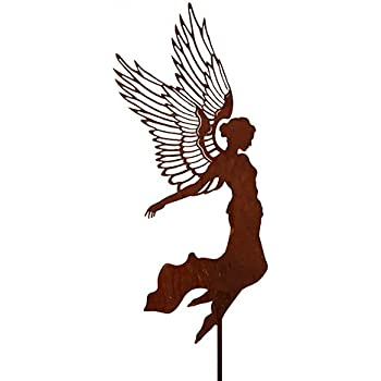 Metallmichl edelrost engel santine einfach auf platte h he for Gartendeko engel rost