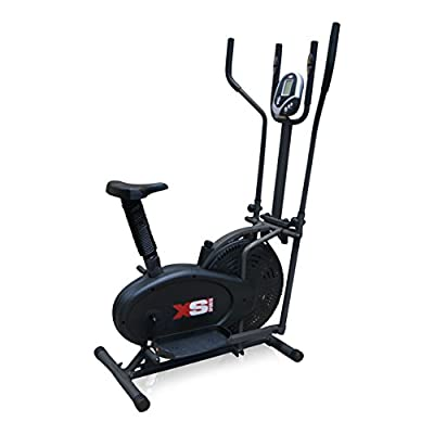 Pro XS Sports 2-in1 Elliptical Cross Trainer Exercise Bike-Fitness Cardio Weightloss Workout Machine-With Seat + Pulse Heart Rate Sensors by XS Sports