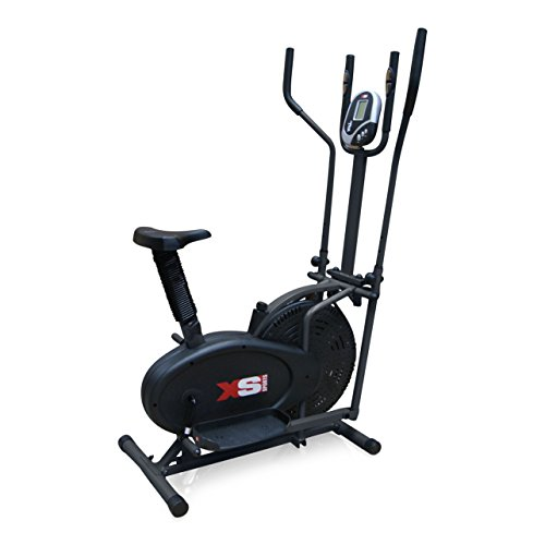 XS Sports Pro 2-in1 Elliptical Cross Trainer Exercise Bike-Fitness Cardio Weightloss Workout Machine-With Seat + Pulse Heart Rate Sensors (Black Frame)