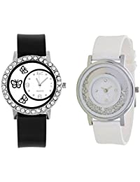Briota New Fashion White Dial Color With Black & White Color Rubber Strap Analogue Watch For Girls Pack Of 2