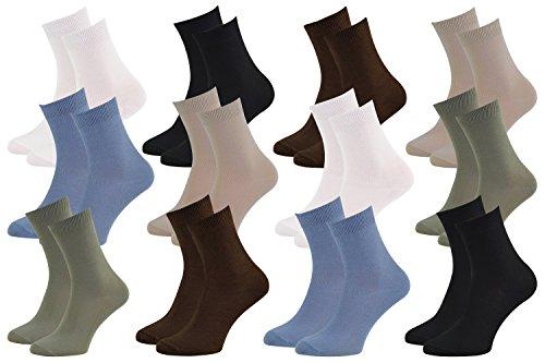 12 Paires de chaussettes Midi en BAMBOU pour Chaque Jour, Délicates Antibactériennes Respirantes Douces Confortable Unisexe Multicolore Double Pack, tailles 39-41 Certificat d'OEKO-TEX, Made en Europe