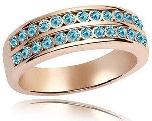 Amazing due livelli cristallo blu oceano anello oro tono grandi dimensioni Q 18mm fr79