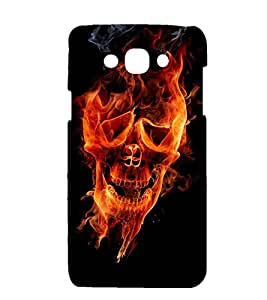 printtech Flaming Skull Face Back Case Cover for Samsung Galaxy J1 / Samsung Galaxy J1 J100F (2015 EDITION )