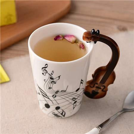 soleditm Neuheit Gitarre Keramik Tasse Persönlichkeit Musik Note Milch Saft Zitrone Tasse Kaffee Tee Tasse Home Office Drinkware