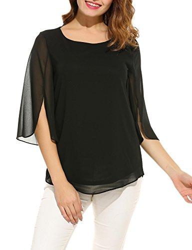 41SvsJigprL - Beyove Damen Shirts Lose 3/4 Ärmel Bluse Hemd Chiffon Langarmshirts Oberteile Tops Elegant