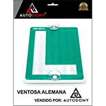 Autodomy Placa L Conductor Novel con Ventosas Alemanas para Coches Homologada Reflectante
