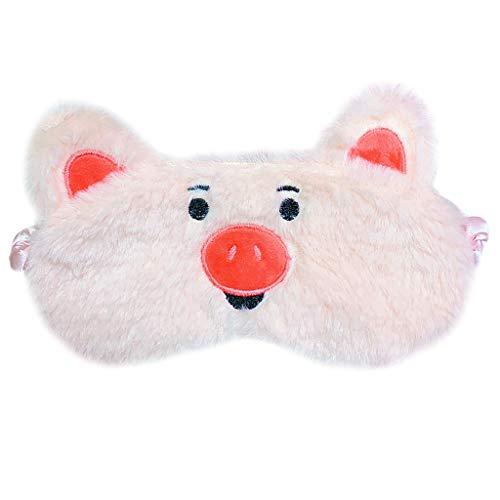 Brucelin Augenmaske schlafend rosa für Mädchen Lidschatten bestickt Emoji Decke ausziehbar tragbar mit Stirnband 2
