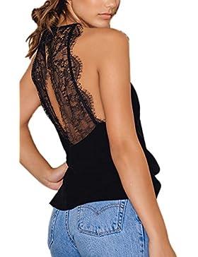 La Mujer Es Elegante Encaje Halter Backless Patchwork T Shirts