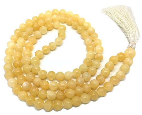 Honig Calcit Japa Mala 108 Perlen je 6 mm breit, Rücken an Rücken, plus 1 größere Guru Perle, 25 Zoll in der Länge, mit echten Edelsteinen, für den Einsatz in Meditation...