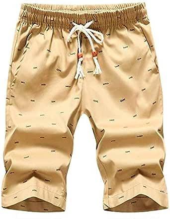 Leezepro Men Casual Bermuda Shorts Summer Chino Beach Shorts with Pocket Elastic Waist
