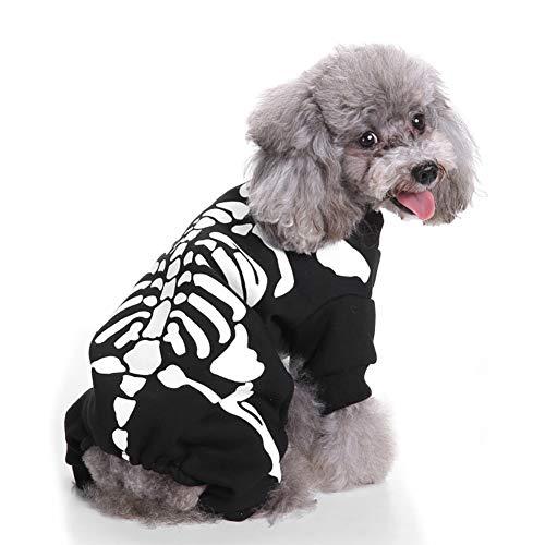 Rocita Mascota Halloween & Navidad Perro Cachorro Halloween Wizard Ropa con Sombrero Mascota Disfraz Disfraz de Vestido Fiesta Traje para Halloween & Navidad (Skeleton, Pequeño)