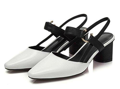 GLTER Damen Slingback Mid Heel Sandalen Closed-Toe Pumps Damen Leder Schuhe Baotou Shallow Mund Schuhe Spitz Dick Schuhe Slip-On Pumps Grau Weiß , milky white , 37