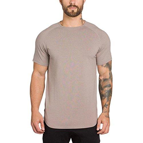 HCFKJ T-Shirt Blusen Herren, Fitnessstudio Crossfit Bodybuilding Fitness Muscle Kurzarm T-Shirt Top Bluse (L, Beige)