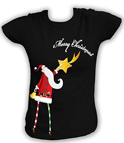 Artdiktat Damen T-Shirt Santa Claus mit Stern Digitaldruck Größe XXL, schwarz