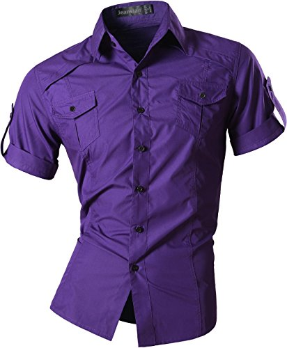 jeansian Herren Freizeit Hemden Shirt Tops Mode Kurzarm Men's Casual Dress Slim Fit 8360 8360a_Purple