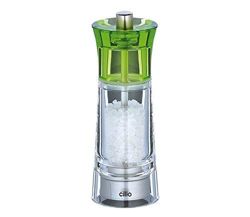 TopGourmet Cilio Genova Moulin à sel Acrylique Transparent Vert 14 cm