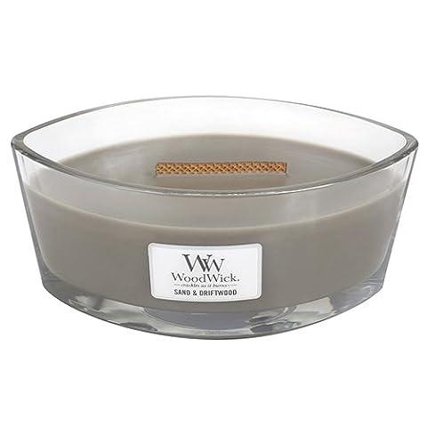 Bougie WoodWick 76378Sable et bois flotté hearthwick Bougie, gris