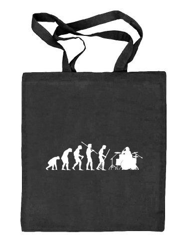 Shirtstreet24, EVOLUTION DRUMMER,Schlagzeuger Drum Kit Stoffbeutel Jute Tasche (ONE SIZE) schwarz natur
