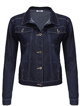 Zeagoo Mujer Chaqueta Vaquera Jacket de Mezclilla Manga Larga Corto Abrigo Denim