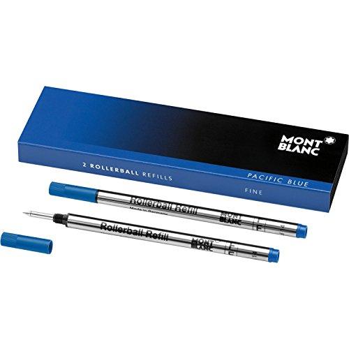 Preisvergleich Produktbild Montblanc Tintenroller Minen Pacific Blue 105163 / Blaue Ersatzmine für Roller Ball und Fineliner Größe F / 2 x Montblanc Refill Rollerball Fein