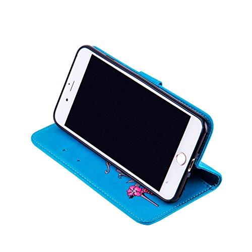 Custodia iPhone 7 Plus / iPhone 8 Plus, Dfly Premium Bling PU Pelle Fiore Degli Alti Talloni Disegno del Modello Funzione di Stand Slot per Schede Flip Antiscivolo Portafoglio Cover per iPhone 7 Plus  Glitter Blu
