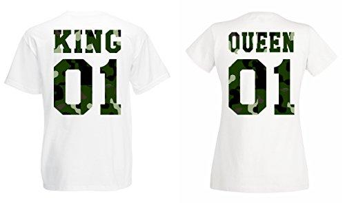 TRVPPY Partner Herren + Damen T-Shirt Set King & Queen Camouflage, Herren M, Damen M, Weiß