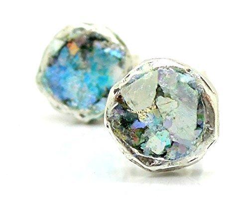 Handgefertigter Silber-Ohrstecker | rund | rustikal Ohrring | blau | Römisches Glas vom 2.-4. Jahrhundert | Unikat Kunsthandwerk Re-Design by Niibuhr Jewelry