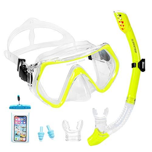 Supertrip Premium Schnorchelset Erwachsene Taucherbrille Tauchset gehärtete Anti-Beschlag Gläser Taucherbrille Wasserdichte Tauchmaske und trockenem Schnorchel Set 2 Mundstück (Gelb)