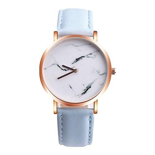 Yogogo Damen Marmoroberfläche Quartz Analog Armbanduhr , 1 Cent Artikel | Lederband | Dekoration | Geschenk | Alugehäuse | Quarzwerk | 38mm Durchmesser | 20mm Bandbreite | 230mm Länge (Himmelblau)