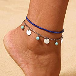 Bobopai Anklet Bracelet Foot Accessories Fashion Double Chain Beach Jewelry Barefoot Charm Bead Ankle Bracelet - Bohemian Style Adjustable Women Girls (Silver 5)
