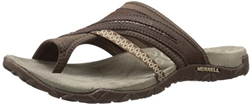 Merrell Terran Post Ii, Sandales Bout Ouvert Femme, Rose, 37 EU Marron (Dark Earth)