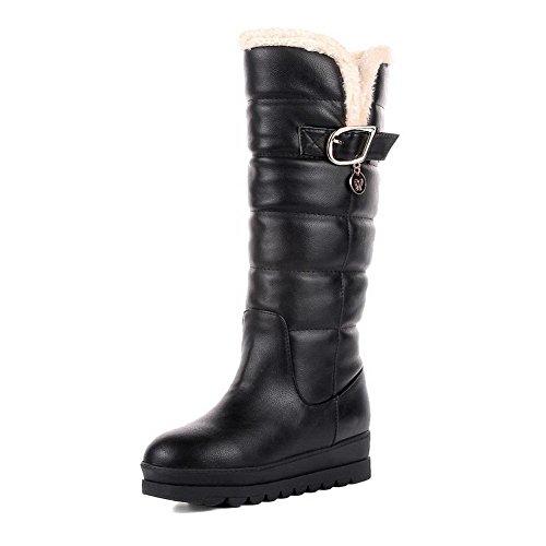 VogueZone009 Damen Ziehen auf Schließen Zehe Hoher Absatz Mitte-Spitze Stiefel mit Schnalle, Schwarz, 35