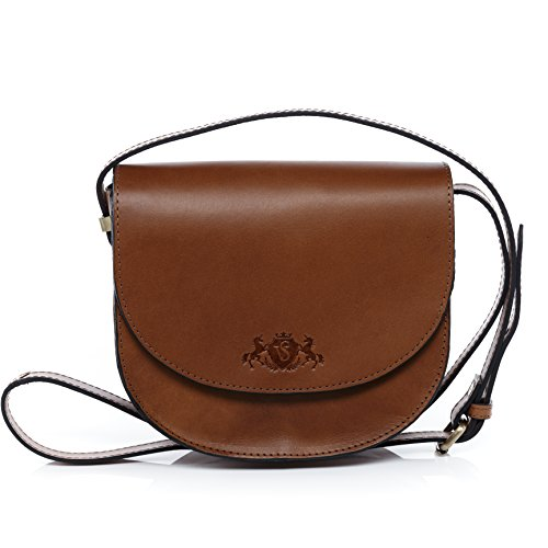 - 41SvxwBppOL - Scotch & Vain small shoulder bag – handbag TRISH stable character – women`s bag tan-cognac leather