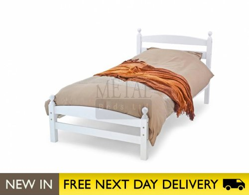 Metal Beds Ltd Moderna White 3ft Single Wooden Bed