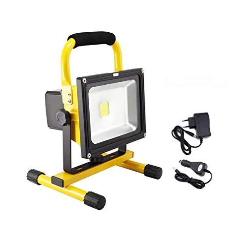 50W LED Baustrahler Akku mit AC adapter und Autoladegerät - LED Strahler Arbeitsscheinwerfer Wasserdicht IP65 Warmweiß für Camping, Fischen (50W, Warmweiß)