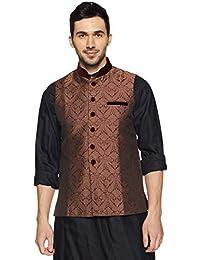 Manyavar Men's Banded Collar Nehru Jacket (J952358)