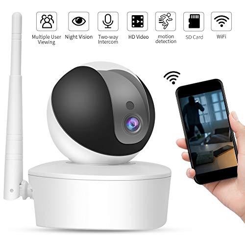 1080P WiFi HD Cámara, Cámara de Seguridad Inalámbrica HD, Cámara PTZ para Interiores con Visión Nocturna IR, Detección Movimiento, Audio 2 Vías (Unione Europea)
