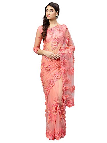 AKHILAM Women\'s Net Embellished Saree with Unstitched Blouse Piece (Pink_SAR15686C)