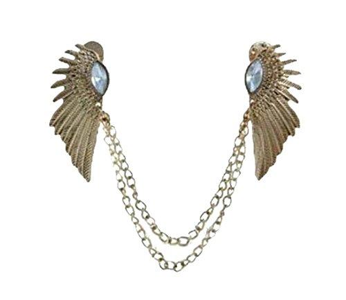 Winkel-Kragen-Hemd-Kragen-Pin-Kragen-Kette Brosche Dekoration, goldenen Flügeln (Flügel Pin)