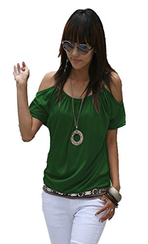 Mississhop Japan Style Damen Top T - Shirt Bluse Longshirt Tunika Tanktop Oberteil NATA grün XL - Stretch, Off-shoulder Top