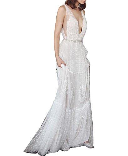 VIKEBRIDAL Damen Boho Hochzeitskleid Luxus Mantel V-Ausschnitt Tüll Zum Frauen Elfenbein 38