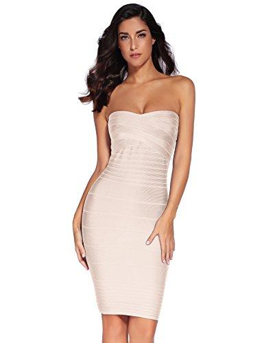 Shownice - vestito da donna, in rayon, senza spalline, fasciante, per feste Beige X-Small