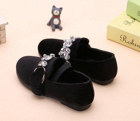 Ohmais Enfants Filles Chaussure cérémonie Ballerines à bride Fête Demoiselle d'honneur Mariage Escarpin à petit talon Noir