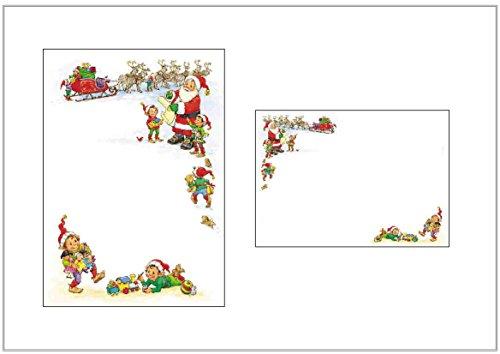 Weihnachten Papier & Umschläge–Santa Liste/Weihnachtsmann mit Schlitten & Elfen–Seasonal Schreibpapier Packungen (10)