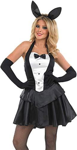 Damen Sexy Ostern Playboy Hase Mädchen Hase Tier Halloween Kostüm Kleid Outfit UK 8-26 Übergröße - Schwarz/weiß, 16-18 (Übergröße Tier Kostüm)