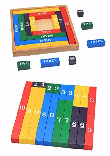 ri Mathematik Spielzeug aus Holz zum Zahlen lernen mit Zahlenbalken in Schrift und Ziffern, Bunt / Natur ab 3 Jahre für die frühe Motorik Entwicklung & Ausbildung ihres Kindes (Mathe-spielzeug)