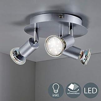 B.K.Licht Plafoniera LED, include 3 lampadine LED GU10 da 3W, luce calda, faretti da soffitto, lampada moderna con 3 luci orientabili, forma circolare, corpo metallo, 230V IP20